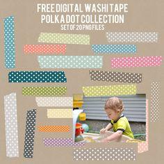 Free Digital Washi Tape | A Vegas Girl at Heart diy ideas, graphic, polka dots, pattern, digit washi, washi tape, scrapbook, masking tape, heart designs
