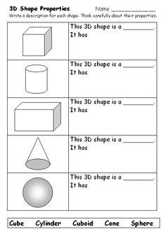 3D Shapes Worksheets on 2d and 3d worksheets kindergarten