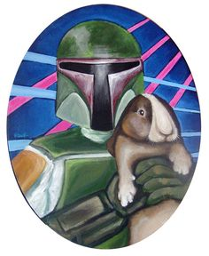 Boba Fett with Brown Bunny  11x14 acrylic on oval by tramplamps, $185.00
