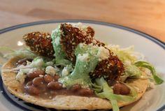 Fried Avocado Tacos with Sesame and Lime