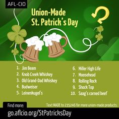 Celebrate St. Patrick's Day with this handy list of union made-in-America libations http://go.aflcio.org/StPatricksDay #1u