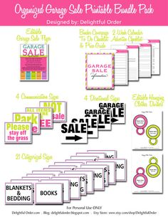Garage Sale  Printable Bundle Pack - (37 pages) PDF Printable Files - Instant Digital Download