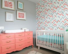 Custom Crib bedding - Coral, Grey and Aqua Baby Bedding
