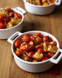 Garlicky Cherry Tomato and Bread Gratin Recipe from Food & Wine
