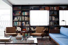Apartment On Oscar Freire Str. in São Paulo by Felipe Hess chair, interior, felip hess, book, librari, oscar freir, são paulo, apartments, design