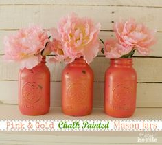 Pink & Gold Chalk Painted Mason Jars {and a May Flowers Blog Hop} - The Happy Housie
