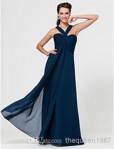 - Custom Made! Navy Blue Chiffon V-Neck Bridesmaid Bridesmaid Dress | Buy Wholesale On Line Direct from China