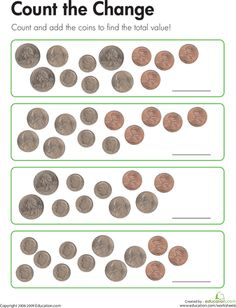 Worksheets: Count the Coins