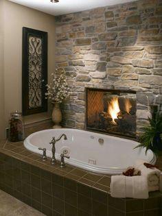 Mon bain au feu de cheminee