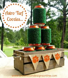DIY Astro Turf Tailgating Coozies