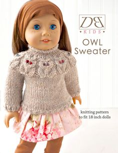 Doll clothes knitting pattern PDF for 18 inch American Girl type doll (AG doll): Owl Yoke Sweater on Etsy, $7.00