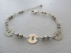 Personalized 3 4 5 6 hand stamped initial bracelet in sterling silver by JoDeneMoneuseJewelry