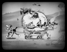 "Mickey Mouse (voiced by Walt Disney himself), his favorite pal Minnie Mouse and a host of friends delight in a musical wagon ride in Walt Disney Animation Studios' ""Get A Horse!"" The black-and-white, hand-drawn theatrical short opens in theaters in front of ""Frozen"" on Nov. 27, 2013."