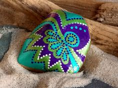 Carribbean Calypso / Painted Rock / Sandi Pike Foundas / Cape Cod Sea Stone  $30