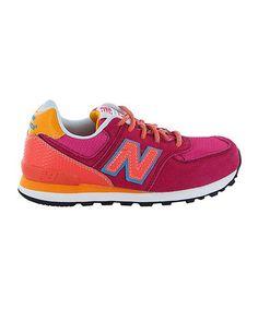Pink & Orange Carnival 574 Suede Running Shoe - Girls by New Balance #zulilyfinds