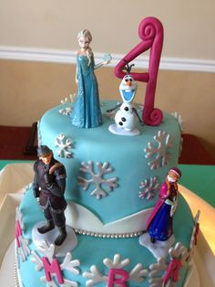 Frozen cake toppers, the Disney Frozen figurine set! Have the stores create a winter theme on the cake, and put these on afterward to make it a FROZEN cake! http://cgi.ebay.com/ws/eBayISAPI.dll?ViewItem&item=151306201379