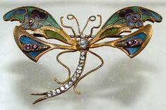 Plique a Jour Enamel Dragonfly Pin  - circa 1905 enamel dragonfli, dragonfly art, dragonfli brooch, art nouveau dragonfly, digital art, nouveau jewelri, nouveau dragonfli, arts and crafts jewelry, antiques
