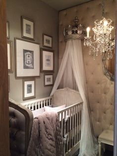 Gorgeous upholstered crib and canopy from Baby & Child Restoration Hardware - Refunk My Junk