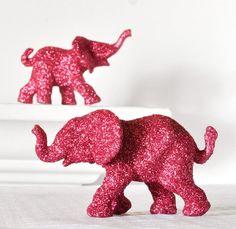 Hot Pink Glitter Elephant