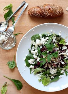 mixed salad with beetroot and feta cheese