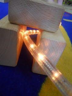 Add a light rope to the #block center. Amazing! lights, teacher stuff, preschool idea, blocksdramat play, ropes, 3 year olds, block play, the block, light rope