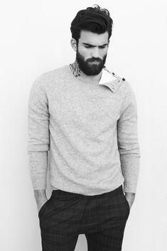 grey sweater, plaid pants