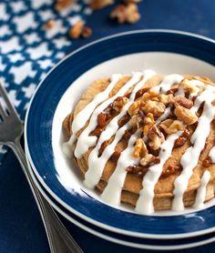 Healthy Cinnamon Roll Pancakes
