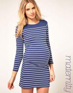 ASOS Maternity Dress In Cotton Breton Stripe