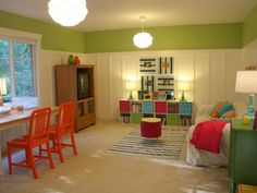 Love this playroom, but I'd make it a little more masculine for the boys... Love that many of the items are from Target! Very doable!