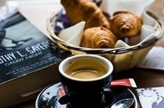 breakfast croissants and coffee