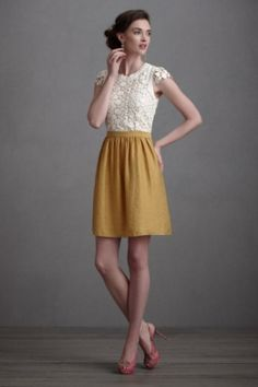 BHLDN dress, size 2, $250 lace tops, party dresses, fall clothes, rehearsal dress, bridesmaid dresses, flower dresses, outfit, white lace, mustard yellow