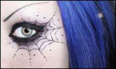 hair colors, spider webs, eye makeup, eyeshadow, halloween makeup, blue hair, makeup looks, halloween eyes, halloween ideas