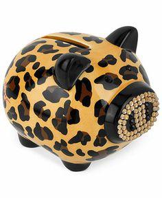 Betsey Johnson Piggy Bank, Ceramic Leopard Patterned Crystal Accent Piggy Bank.  Your favourite piggy banks: http://www.helpmetosave.com/2012/02/piggy-bank/