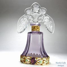 Amethyst Jeweled Czech Perfume Bottle Tiara Stopper