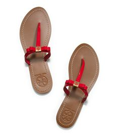 Tory Burch Patent Flat Thong in Carnival.