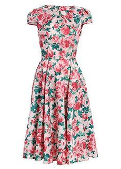 Light Pink Flower Garden Party 50s Pin Up Retro Vintage Dress