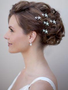 beach wedding hairstyles, beach wedding updo, starfish hair pins