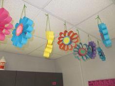spring flowers, idea, flower art, hanging flowers, paper flowers, teacher websites, school art projects, toilet paper, arts integration