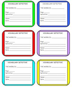 Motivate your students to learn new vocabulary words! They find the words, fill out the cards, put them in the Detective Jar for the drawing at the end of the week! FREE! Repinned by SOS Inc. Resources. Follow all our boards at pinterest.com/sostherapy for therapy resources.