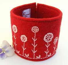 Handmade ooak red pink wool felt bracelet women jewelry