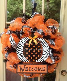 Fall Pumpkin Welcome Wreath, Halloween Wreath,  Fall Wreath, Deco Mesh, Door Wreath, Home Decor, Poly Mesh on Etsy, $85.00
