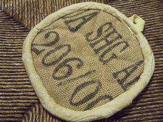 Recycled Coffee Sack Pot Holders via Etsy.