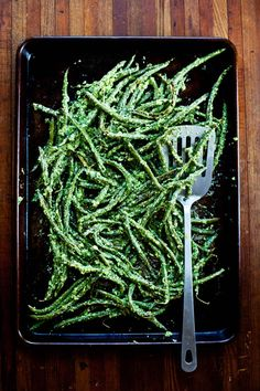 roasted green beans with vinegary dill sauce.
