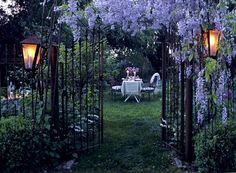 lantern, secret gardens, romantic dinners, garden gates, arbor, wrought iron, backyard, place, provence france