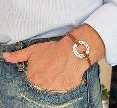 Personalized Washer Bracelet. Adjustable Men's Bracelet. Brown Leather Bracelet for Men. Longitud / Latitude Coordinates Bracelet