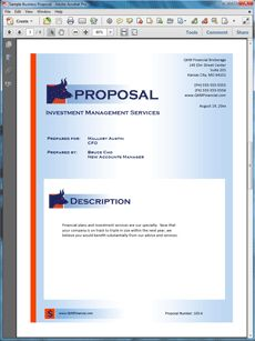 Investment and Brokerage Services Sample Proposal - Create your own custom proposal using the full version of this completed sample as a guide with any Proposal Pack. Hundreds of visual designs to pick from or brand with your own logo and colors. Available only from ProposalKit.com (come over, see this sample and Like our Facebook page to get a 20% discount)