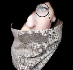 Mustache Scarf Cowl  History Professor Neckwarmer by piprobins, $35.00