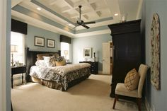 wall colors, color schemes, blue walls, tray ceilings, bedroom colors, master bedrooms, furniture, blues, bedroom paint colors