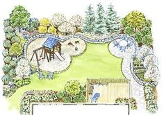 Flipped backyard. Shed instead of extra dining area. More grass in play area. Less trees.
