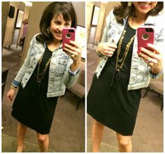 Here's the basic t-shirt dress with the MUST HAVE denim jacket!